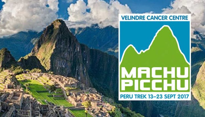 Machu Picchu trek 2017 logo and landscape background