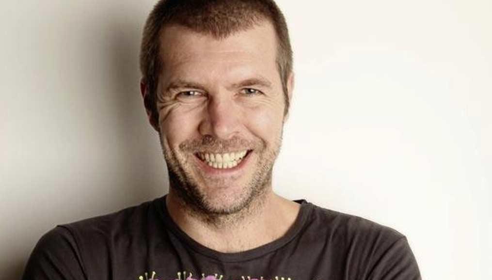 rhod gilbert smiling in t-shirt